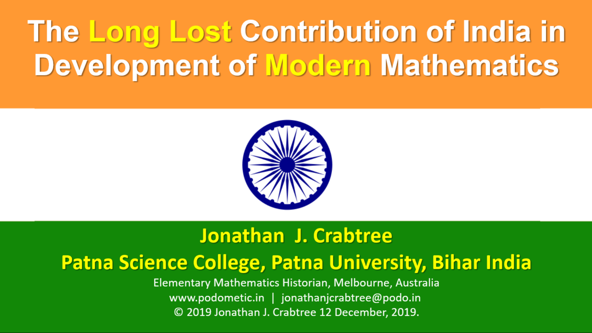 The Long Lost Contribution of India in​ Development of Modern Mathematics